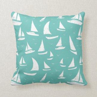 Weathered Nautical Flotilla of Sailing Boats Blue Cushion