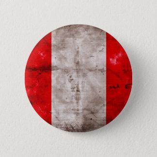 Weathered Peru Flag 6 Cm Round Badge