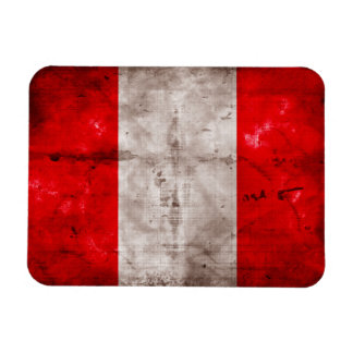 Weathered Peru Flag Rectangle Magnets