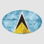Weathered Saint Lucian Flag Sticker