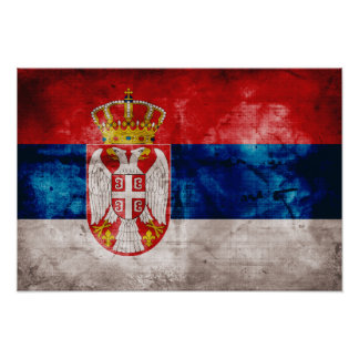 Weathered Serbia Flag Poster