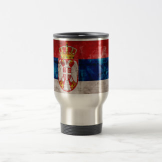 Weathered Serbia Flag Travel Mug