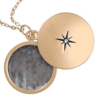 Weathered Stone or Metal Design Round Locket Necklace