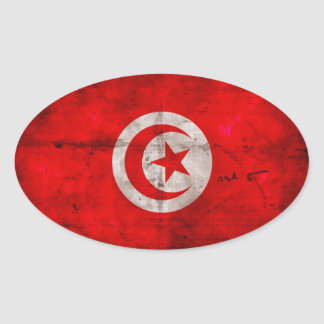 Weathered Tunisia Flag Oval Sticker