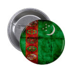 Weathered Turkmenistan Flag Pinback Buttons