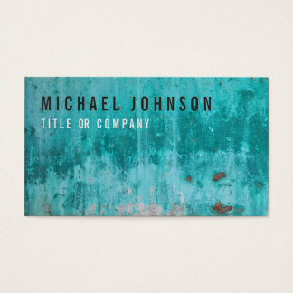 Weathered turquoise concrete wall texture business card