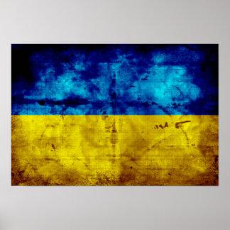Weathered Ukraine Flag Poster