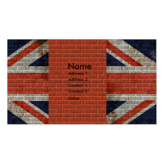 Weathered Union Jack on brick wall Business Cards