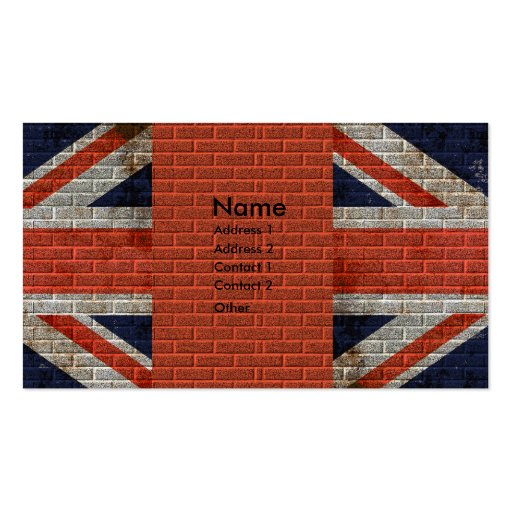 Weathered union jack on brick wall business cards zazzle for Union made business cards