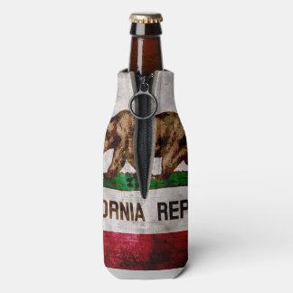 Weathered Vintage California State Flag Bottle Cooler