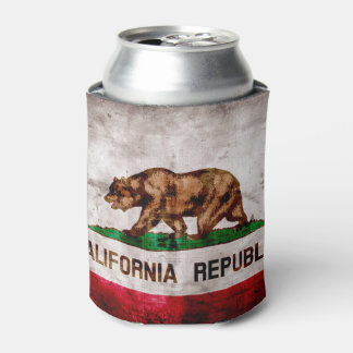 Weathered Vintage California State Flag Can Cooler