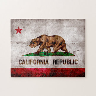 Weathered Vintage California State Flag Jigsaw Puzzle