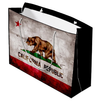 Weathered Vintage California State Flag Large Gift Bag