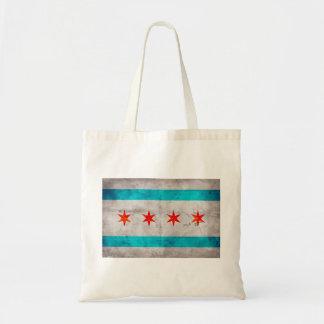 Weathered Vintage Chicago State Flag Budget Tote Bag