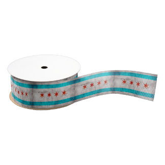 Weathered Vintage Chicago State Flag Grosgrain Ribbon