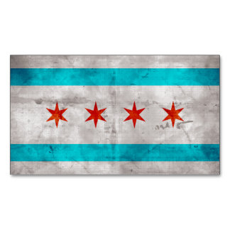 Weathered Vintage Chicago State Flag Magnetic Business Cards