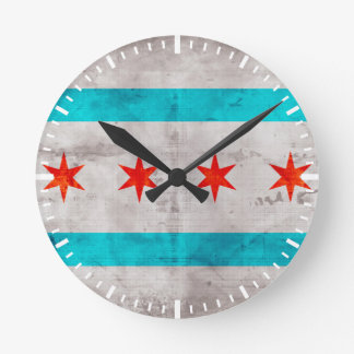 Weathered Vintage Chicago State Flag Round Clock