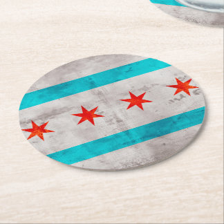 Weathered Vintage Chicago State Flag Round Paper Coaster