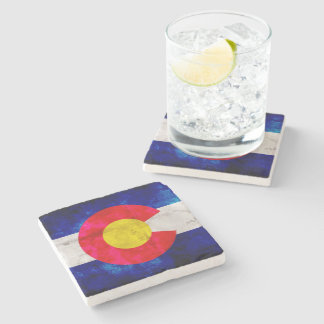 Weathered Vintage Colorado State Flag Stone Coaster
