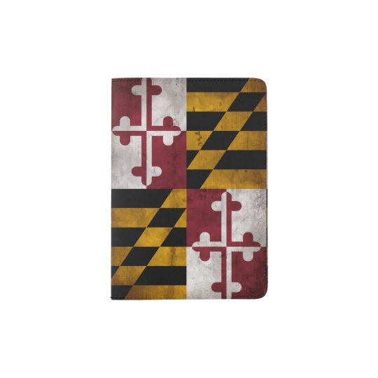 Weathered Vintage Maryland State Flag Passport Holder
