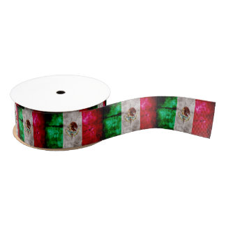 Weathered Vintage Mexico Flag Grosgrain Ribbon