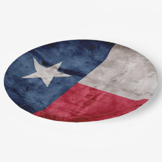 Weathered Vintage Texas State Flag Paper Plate