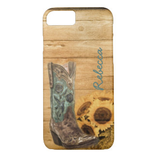 Weathered Western Country sunflower cowboy boot iPhone 8/7 Case