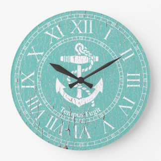 Weathered White Anchor Personalize Large Clock