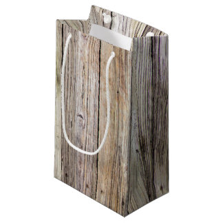 Weathered Wood Boards with Rustic Patina Small Gift Bag