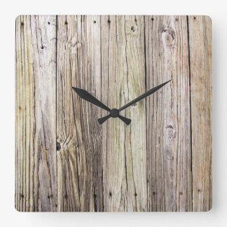 Weathered Wood Dock Boards with Rustic Appeal Square Wall Clock