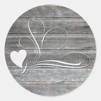 Weathered Wood Heart Design Round Sticker
