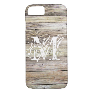 Weathered Wood Monogrammed iPhone 7 Case