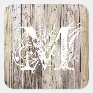 Weathered Wood Monogrammed Sticker