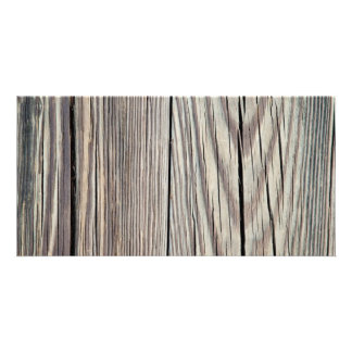 Weathered Wood Plank w Grain Background Template Photo Greeting Card