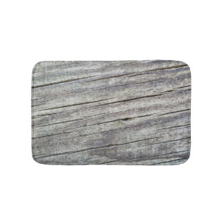 Weathered Wood Planks Texture Pattern Bath Mat