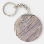 Weathered Wood Rough Textured Deck Basic Round Button Key Ring