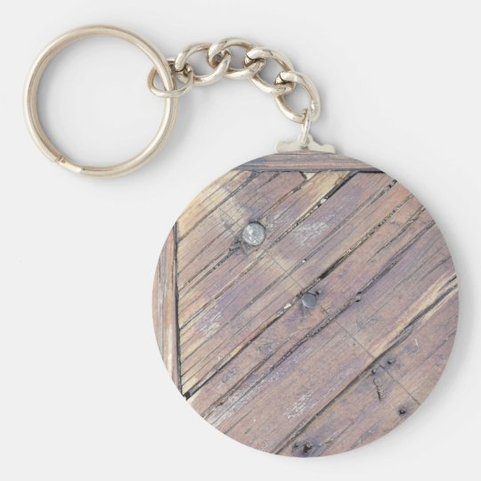 Weathered Wood Rough Textured Deck Key Ring