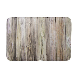 Weathered Wooden Boards with Rustic Patina Bath Mat