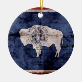 Weathered Wyoming Flag Christmas Ornament