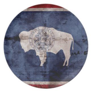 Weathered Wyoming Flag Plates