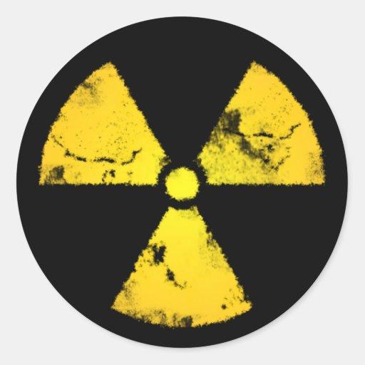 Weathered Yellow Radiation Symbol Sticker Round Stickers