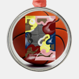 Weave Basketball Silver-Colored Round Decoration
