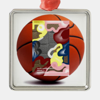 Weave Basketball Silver-Colored Square Decoration