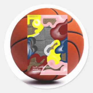 Weave Basketball Round Sticker