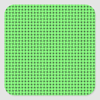 Weave - Green Square Stickers
