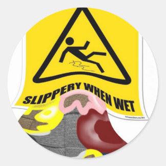 Weave Slippery When Wet Round Sticker