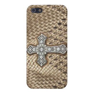 Weaved IPHONE Case with Rhinestone & Pearl Cross Covers For iPhone 5