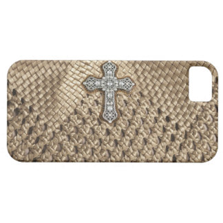 Weaved IPHONE Case with Rhinestone & Pearl Cross iPhone 5 Case