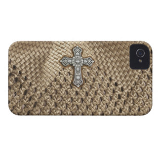 Weaved IPHONE Case with Rhinestone & Pearl Cross iPhone 4 Case