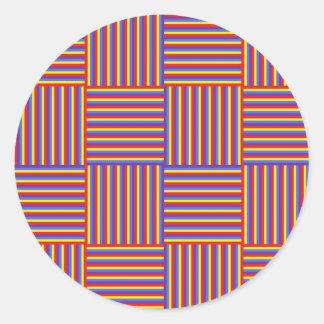 Weaved Stripes Round Stickers
